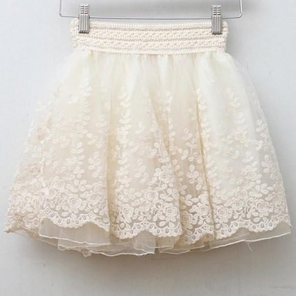 skirt cream vintage mini