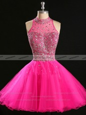 dress,pink,prom dress,homecoming dress,style,fashion,pretty,short,high neck,sparkle,beaded