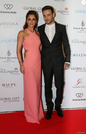 dress gown cheryl cole liam payne prom dress blush pink