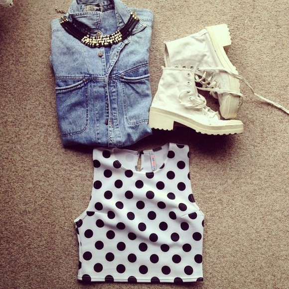polka dots top crop tops