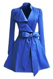 pea coat,royal,flare,blue,trench coat