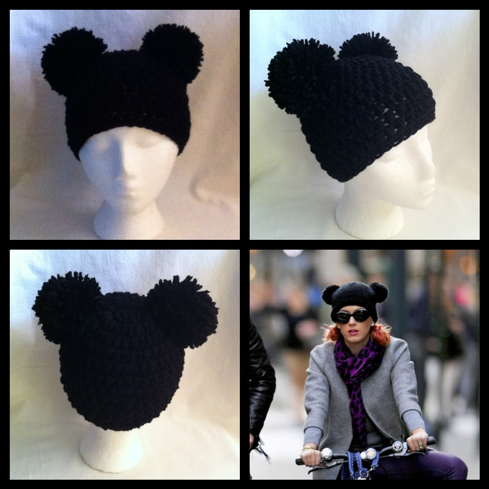 Mickey Mouse Pom Pom Ears Beanie Hat Handmade Crocheted | eBay