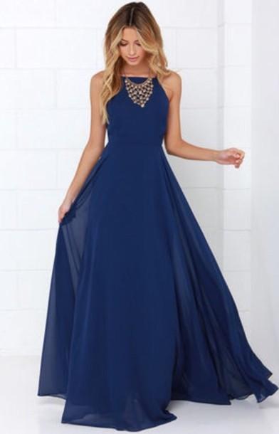 Dark Blue Flowy Prom Dress
