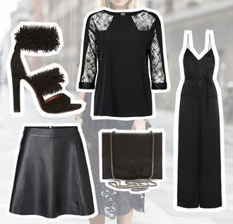 fashion fillers blogger jumpsuit bag shoes leather skirt skirt top tights noir