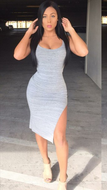 Dress: grey grey dress side split short dress tights tight ...