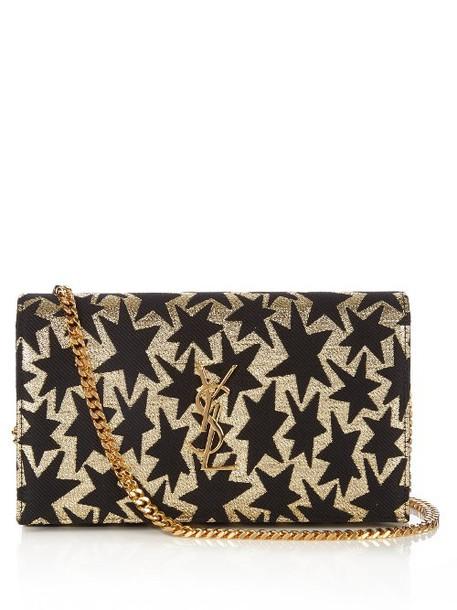 Saint Laurent cross jacquard bag gold black