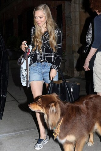 shoes shirt amanda seyfried denim shorts sneakers