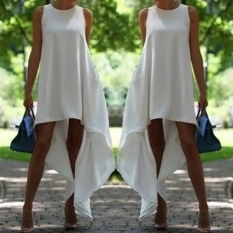 dress white white dress asymmetrical top bottoms t-shirt shirt skirt clothes bag clutch handbag cute dress sexy dress summer dress beautiful fashion girly outfit sammydress