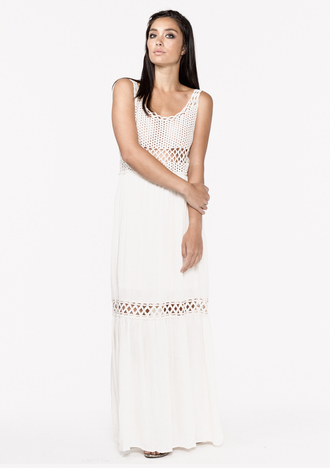dress crochet dress maxi dress vanilla natural lovestitch shoplovestitch