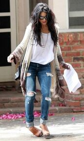 jeans,boyfriend jeans,ripped jeans,shoes,cardigan,aztec,bohemian,boho chic,vanessa hudgens,tank top
