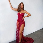 dress,gown,red dress,red gown,evening dress,red lace dress,see through dress