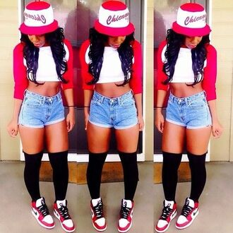 shirt crop tops baseball tee high waisted shorts knee high socks air jordan bucket hat chicago bulls swag