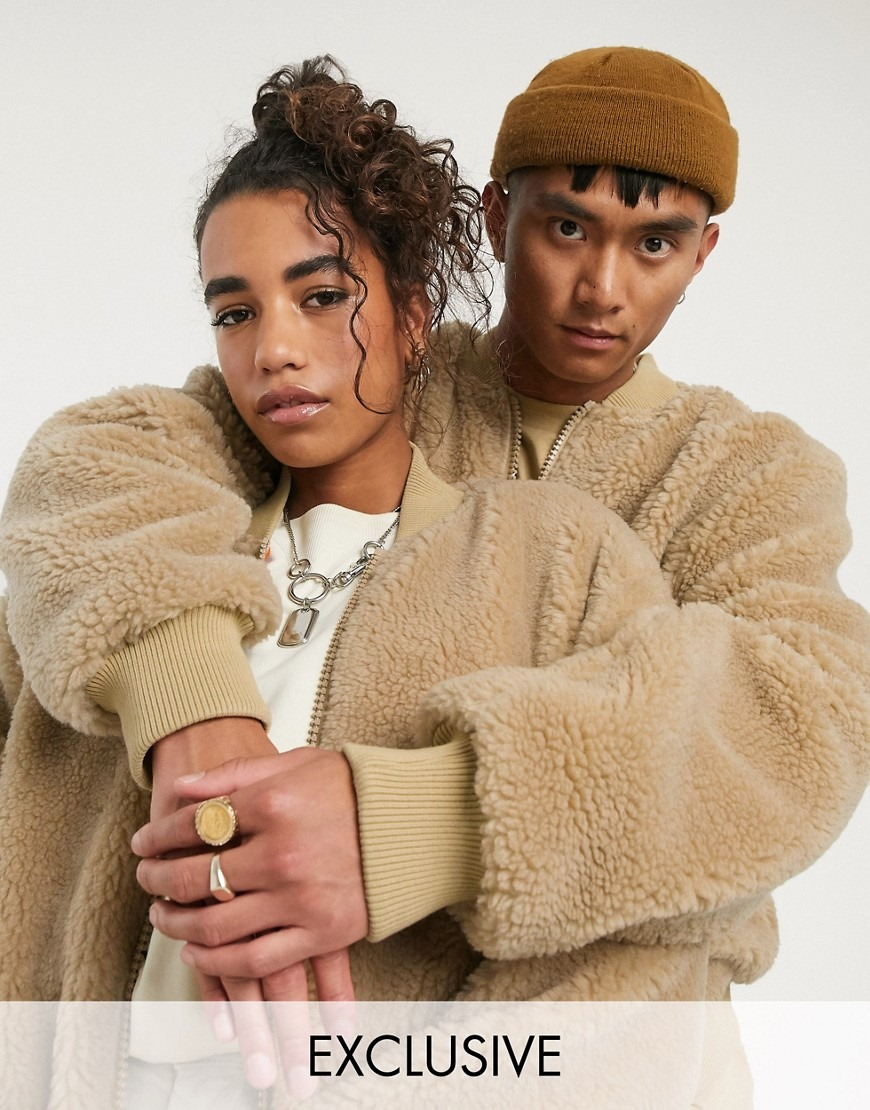 COLLUSION oversized MA1 teddy fur bomber jacket in tan