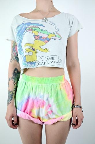 t-shirt the simpsons short shirt surf beach hipster shorts rainbow bart simpson