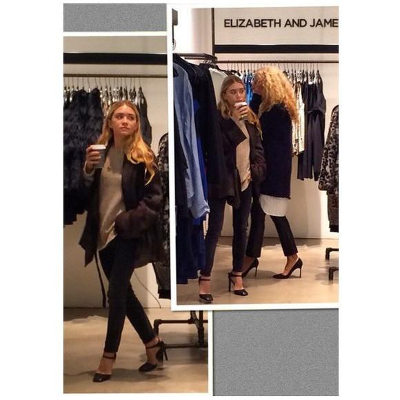 ashley olsen shoes olsen sisters blouse top coat jeans