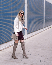 visions of vogue,blogger,sweater,skirt,shoes,bag,jewels,scarf,make-up,fall outfits,fringe skirt,shoulder bag,thigh high boots,high heels boots,boots,white sweater,purple skirt