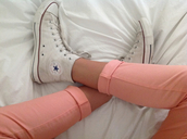 jeans,coral denim,coral jeggings,coral leggies,coral pants,coral,salmon,salmon pink jeans,pants,jeggings,leggies