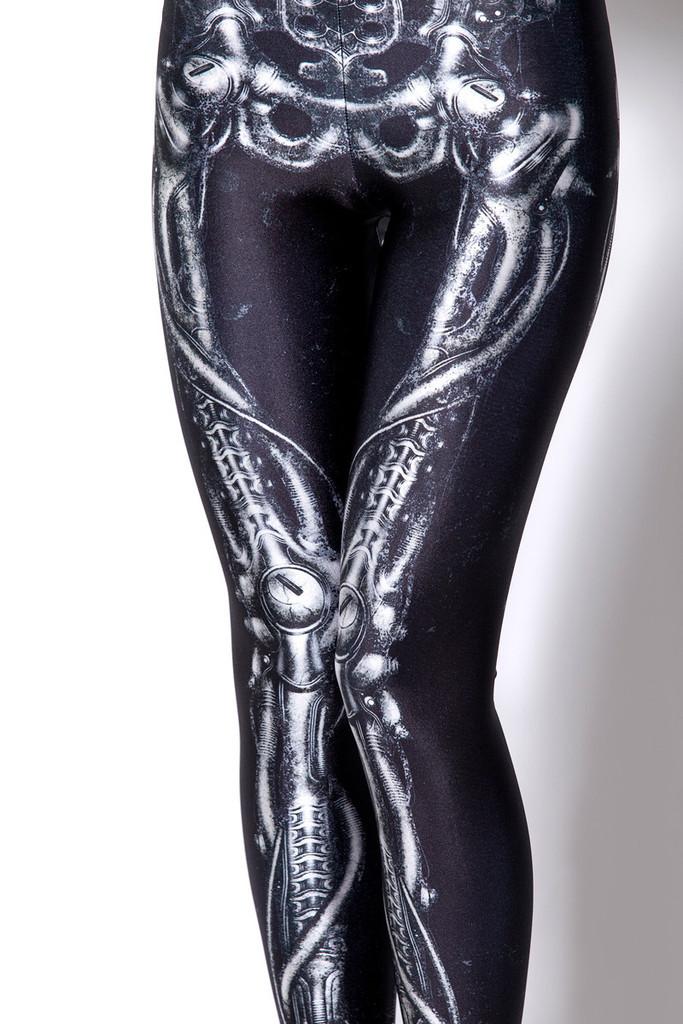 RESUN KNITTED BLACK MILK mechanical bones black leggings 2014 digital print black sexy legging for women gifts Drop shipping-inLeggings from Apparel & Accessories on Aliexpress.com