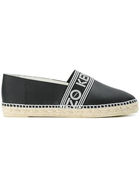 Kenzo women espadrilles leather black shoes