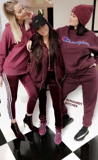 sweater sweatshirt hoodie kylie jenner kourtney kardashian khloe kardashian kardashians snapchat sweatpants burgundy hat beanie pants