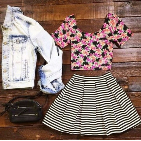 blouse crop tops black style fashion skirt sexy jacket denim jacket striped skirt floral black bags cute trending acid wash