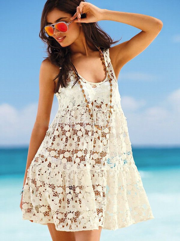Women's Summer Sexy Lace Crochet Sleeveless Swimwear Bikini Cover Up Beach Dress | eBay