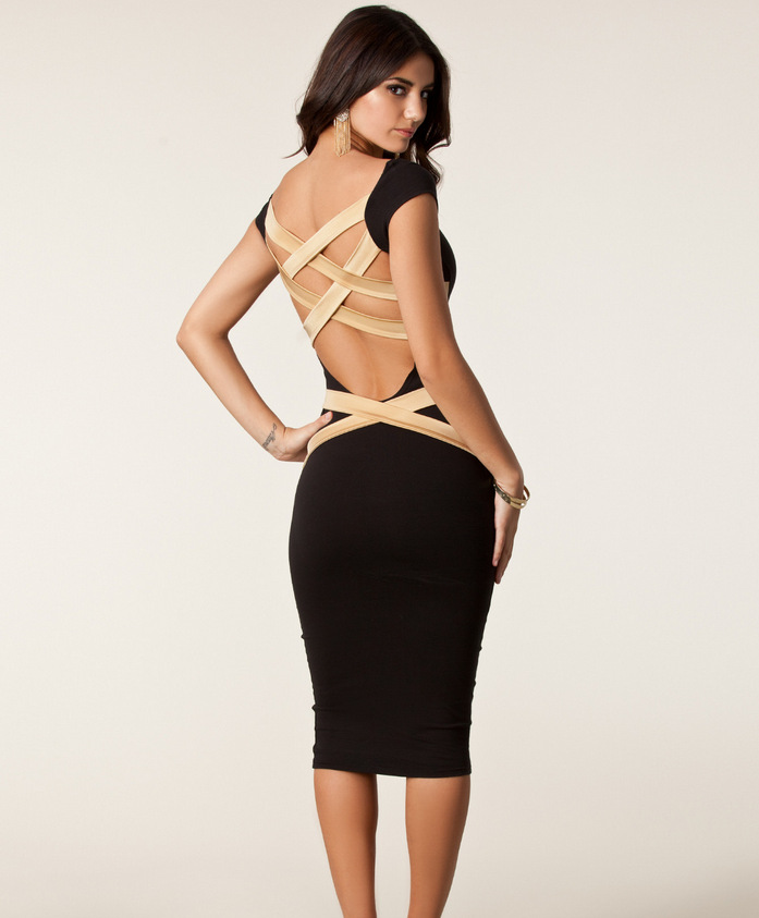 Aliexpress.com : Buy Sexy Club Wear 2015 Womens Open Back Bodycon Bandage Midi Dress Black White Striped Long Sleeve Hollow Out Party Dresses DR5316 from Reliable Dresses suppliers on Rudy Store | Alibaba Group