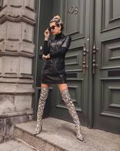dress,boho dress,mini dress,leather dress,short sleeve dress,black turtleneck top,over the knee,snake print,earrings,sunglasses