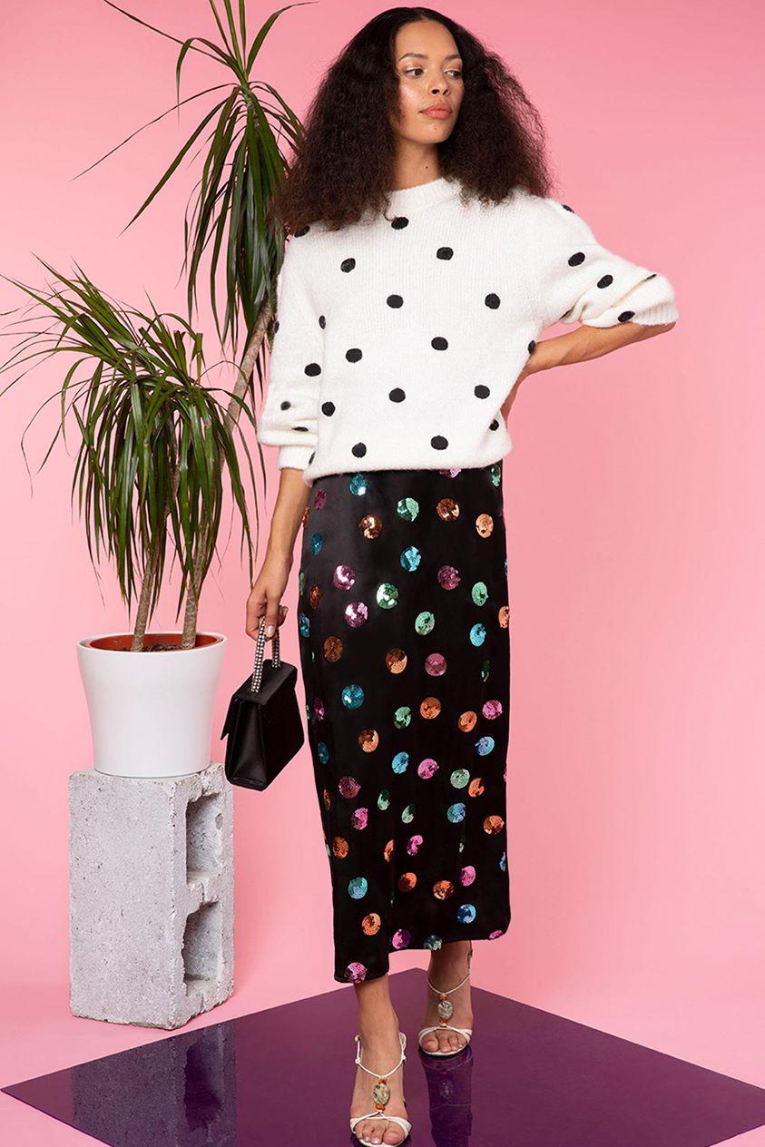 Kelly - Sequin Watercolour Spot - Black Pastel