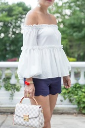 top,blue shorts,tumblr,off the shoulder,off the shoulder top,shorts,bag,bracelets,jewels,jewelry,accessories,Accessory