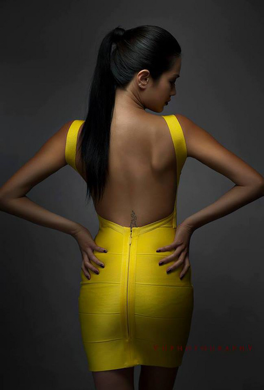 Bqueen Yellow Halter Bandage Dress H612