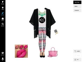 leggings zigzag multi colour pretty kimono necklace bag lips jewels top