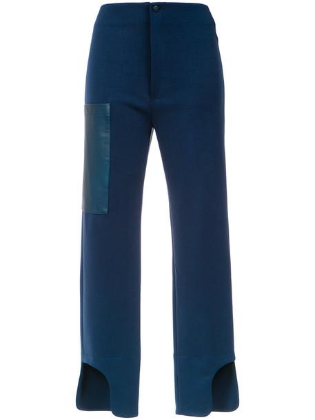 Gloria Coelho high waisted high women spandex blue pants