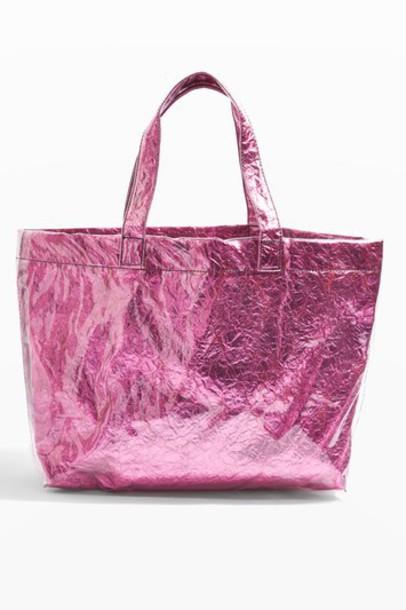Topshop metallic bag pink