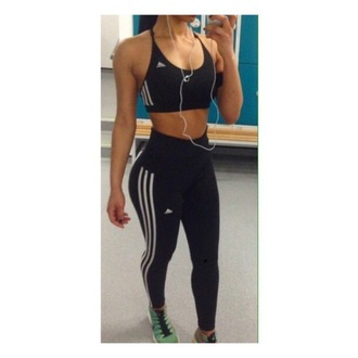 leggings adidas black stripes high waisted