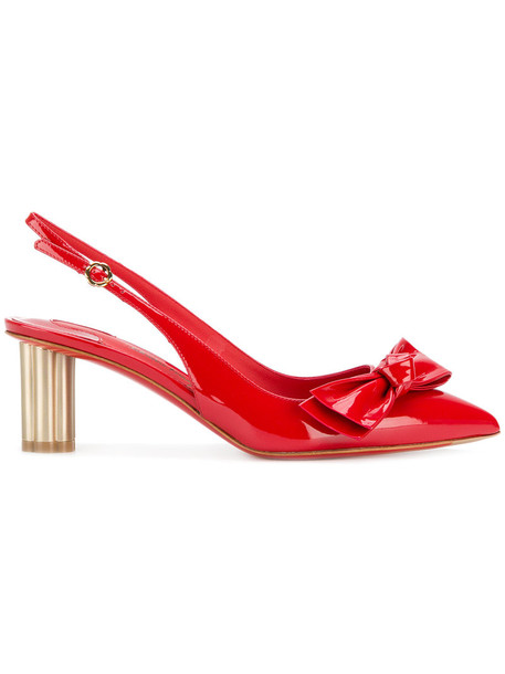 Salvatore Ferragamo heel women pumps leather red shoes