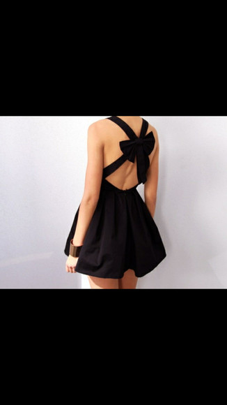 Bow Back Dress black skarterdress black texture rosett