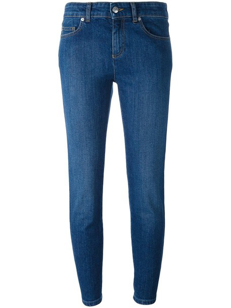Alexander Mcqueen jeans cropped jeans cropped women spandex cotton blue