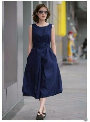 2014 Spring ssSummer Women Fashion Linen Dress Europe Girls Loose Casual Ramie Maxi Long Sleeveless Sundress Plus Size 4XL   Amazing Shoes UK
