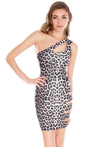 dress leopard print cut-out mini one shoulder cut out neck