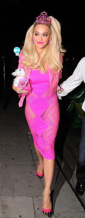 dress rita ora pink barbie halloween halloween costume costume shoes halloween makeup pink dress high heels tiara hot pink bodycon bodycon dress