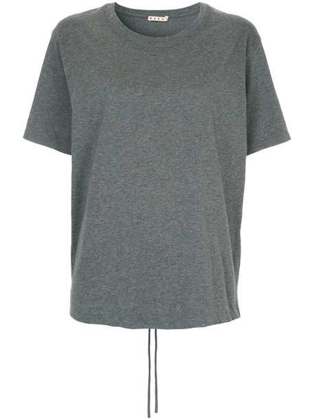 Marni - ruched tab T-shirt - women - Cotton - 38, Grey, Cotton