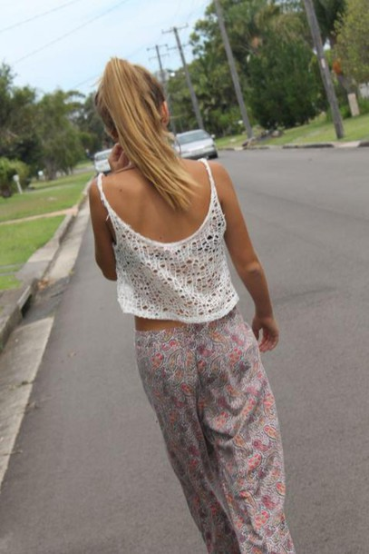 pants printed pants clothes crochet shirt tank top top lace