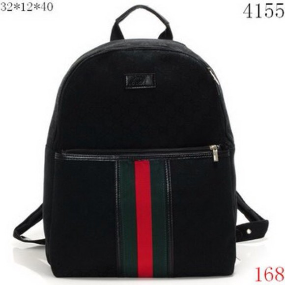bag gucci bag backpack gucci gucci logo black black bag bear red and green book bag school bag high school fashion brand bags
