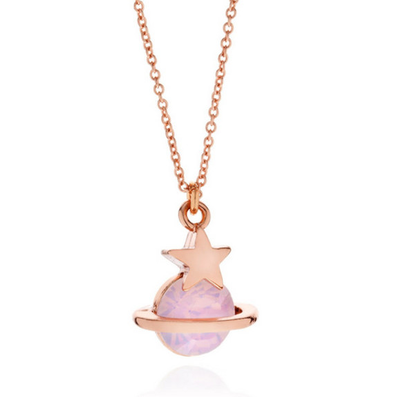 jewels gold cute necklace star planet kawaii purple metal