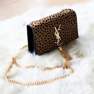 bag ysl leopard print clutch gold