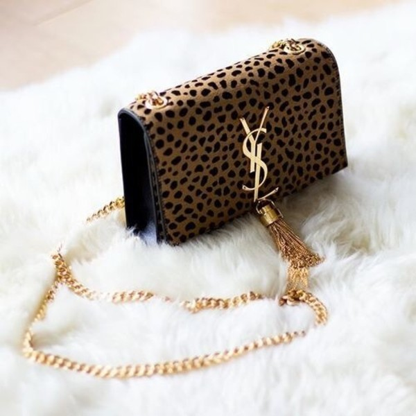 Saint Laurent Leopard Monogramme Small Tassel Shoulder Bag