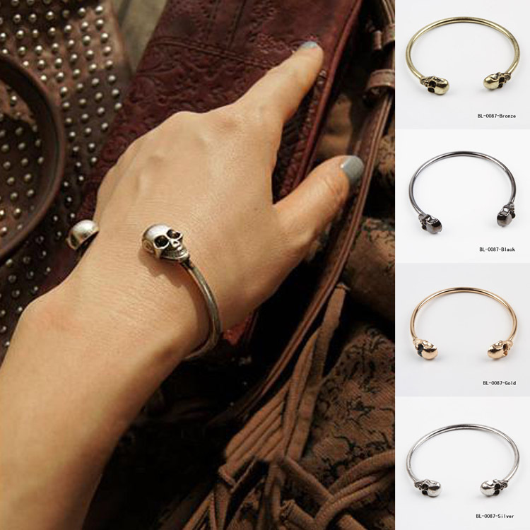 Men women skull ends wire bangle cuff vintage opening bangle new fashion jewelry 4 color bl 0087