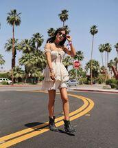dress,white dress,off the shoulder,boots,black boots,choker necklace,sunglasses