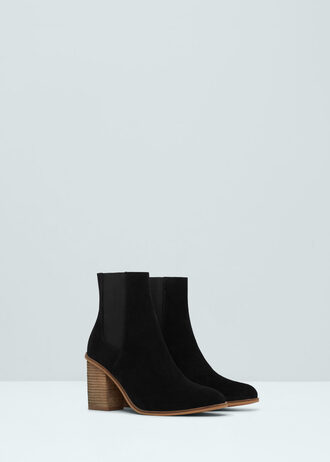 shoes boots suede boots mango classic ankle boots black